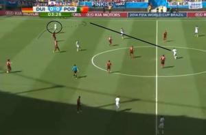 Müller start in buitenspelpositie en loopt weg uit rug van verdediging naar de flank.