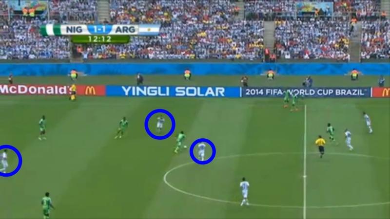 Geen druk van Higuain & Aguero. Messi staat dichtst bij speler met bal maar wandelt ipv duel aan te gaan.